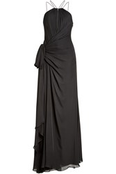 Roberto Cavalli Silk Chiffon Floor Length Gown Black