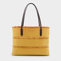 Charles And Keith Oversized Frayed Detail Tote Bag Mustd