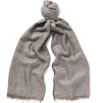 Loro Piana Polka Dot Herringbone Cashmere And Silk Blend Scarf Mushroom