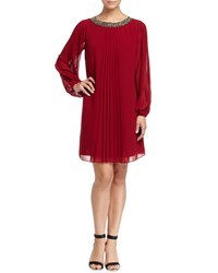 Marc New York By Andrew Marc Pleated Chiffon Long Sleeve Dress Cabernet