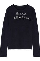 Lingua Franca It Was All A Dream Embroidered Cashmere Sweater Midnight Blue