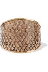 Marni Snake Effect Leather And Gold Tone Cuff Snake Print