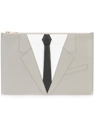 Thom Browne Suit Embroidered Clutch Leather Grey