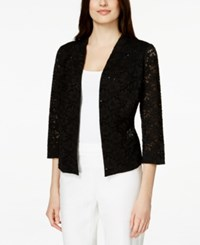 Alfani Petite Open Front Lace Blazer Only At Macy's Deep Black