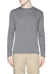 Isaia Silk Cotton Crew Neck Long Sleeve T Shirt Grey