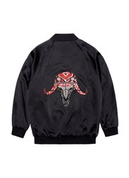 Jay Ahr Ox Embellished Unisex Silk Satin Bomber Jacket Black