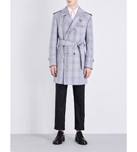 Thom Browne Checked Woven Trench Coat Blk Wht