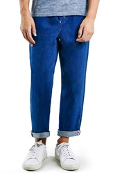 Topman Crop Denim Jogger Pants Blue