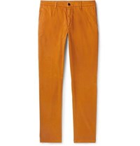 Altea Slim Fit Tapered Stretch Cotton Gabardine Chinos Mustard