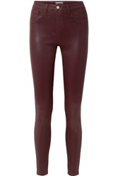 L'agence The Margot Coated High Rise Skinny Jeans Burgundy