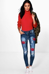Boohoo Rosy Mid Rise Floral Embroidery Skinny Jeans Mid Blue