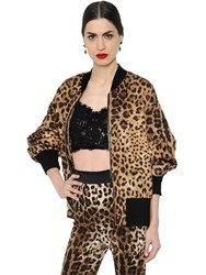 Dolce And Gabbana Leopard Brocade Oversized Bomber Jacket