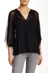 Zoa Embroidered Silk Angel Sleeve Blouse Black