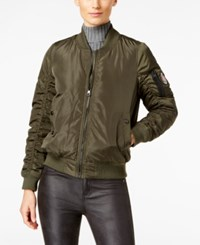 Madden Girl Ruched Bomber Jacket Olive