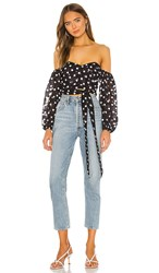 House Of Harlow 1960 X Revolve Karis Top In Black. Black And White Dot