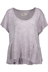 Current Elliott The Girlie Marled Linen And Cotton Blend Peplum Top Lilac