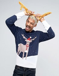 Asos Foundation Christmas Jumper With Reindeer Snow Scene Navy