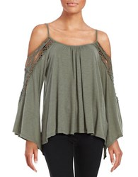 Vintage Havana Crochet Trimmed Cold Shoulder Top Olive