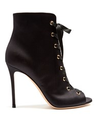 Gianvito Rossi Satin Lace Up Boots Black