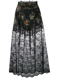 Paco Rabanne Floral Lace Skirt Black
