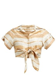 Cult Gaia Madeline Striped Tie Front Cropped Shirt Beige Stripe