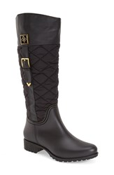 Women's D V 'Coventry' Quilted Tall Waterproof Rain Boot Matte Black