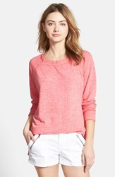 Women's Stem Long Sleeve Raglan Tee Pink Shell