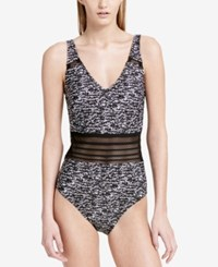 Calvin Klein Sea Glass Printed Mesh Inset One Piece Swimsuit Women's Swimsuit