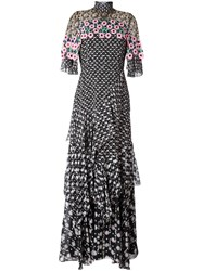 Peter Pilotto Tiered Crochet Overlay Dress Black