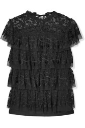 Needle And Thread Tiered Embroidered Tulle Top Black Gbp