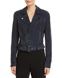 Ramy Brook Ramsay Suede Zip Front Moto Jacket Blue