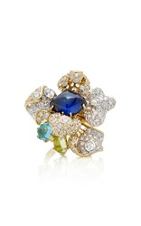 Anabela Chan M'o Exclusive Sapphire Blossom Ring Blue