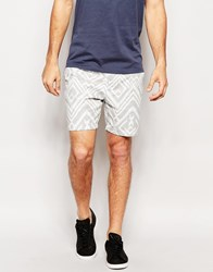 River Island Aztec Print Shorts Grey