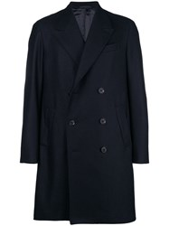 Caruso Double Breasted Coat Blue