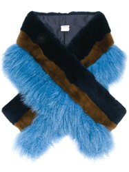 P.A.R.O.S.H. Two Tone Fur Stole Blue