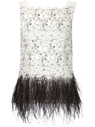 Carolina Herrera Feather Hem Sequinned Lace Top White