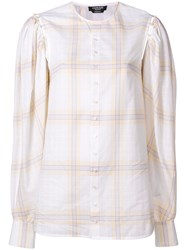 Calvin Klein 205W39nyc Buttoned Sleeve Plaid Top White