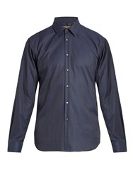 Burberry Prince Of Wales Checked Single Cuff Shirt Navy