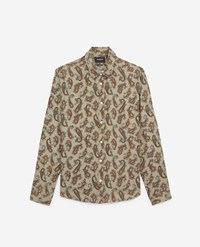 The Kooples Beige Hawaiian Collar Loose Printed Shirt