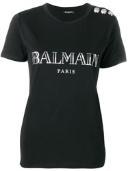 Balmain Embellished Buttons T Shirt Black