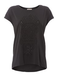 Label Lab Cutwork Print Tee Charcoal