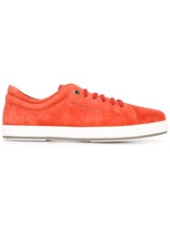Salvatore Ferragamo Suede Sneakers Yellow Orange