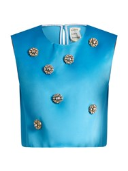 Maison Rabih Kayrouz Embellished Duchess Satin Top Blue