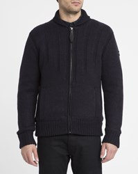 Schott Nyc Navy Zipped Shawl Collar Sherpa Lining Cardigan Blue