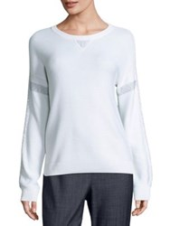 St. John Sport Collection Cashmere Blend Sequin Sweater White