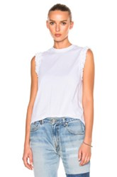 Victoria Beckham Ruffle Sleeveless Tee Shirt In White