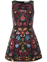 Alice Olivia Lindsey Embroidered Structured Dress Black