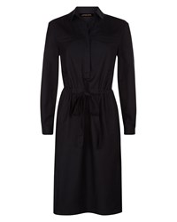 Jaeger Cotton Silk Shirt Dress Black