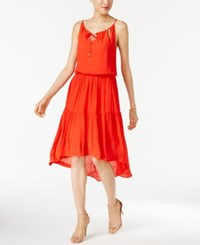 Sangria Blouson High Low Dress Red