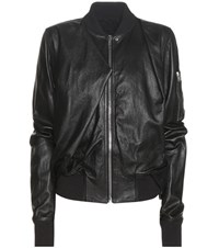 Rick Owens Swoop Flight Leather Jacket Black